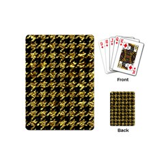 Houndstooth1 Black Marble & Gold Foil Playing Cards (mini)  by trendistuff