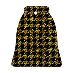 Houndstooth1 Black Marble & Gold Foil Bell Ornament (two Sides) by trendistuff