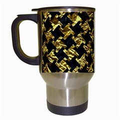 Houndstooth2 Black Marble & Gold Foil Travel Mugs (white) by trendistuff