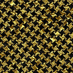 Houndstooth2 Black Marble & Gold Foil Magic Photo Cubes by trendistuff
