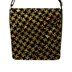 Houndstooth2 Black Marble & Gold Foil Flap Messenger Bag (l)  by trendistuff