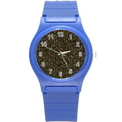 Hexagon1 Black Marble & Gold Foil Round Plastic Sport Watch (s) by trendistuff