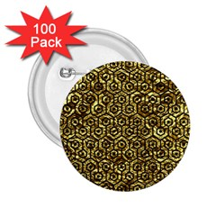 Hexagon1 Black Marble & Gold Foil (r) 2 25  Buttons (100 Pack)  by trendistuff