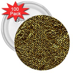 Hexagon1 Black Marble & Gold Foil (r) 3  Buttons (100 Pack)  by trendistuff