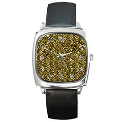 Hexagon1 Black Marble & Gold Foil (r) Square Metal Watch by trendistuff
