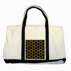 Hexagon2 Black Marble & Gold Foil Two Tone Tote Bag by trendistuff