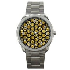Hexagon2 Black Marble & Gold Foil (r) Sport Metal Watch by trendistuff