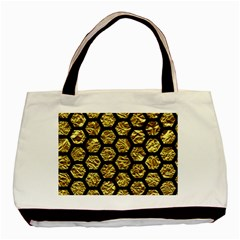 Hexagon2 Black Marble & Gold Foil (r) Basic Tote Bag by trendistuff