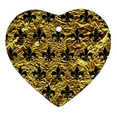 Royal1 Black Marble & Gold Foil Heart Ornament (two Sides) by trendistuff