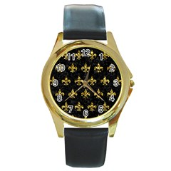 Royal1 Black Marble & Gold Foil (r) Round Gold Metal Watch by trendistuff