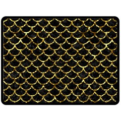 Scales1 Black Marble & Gold Foil Double Sided Fleece Blanket (large)  by trendistuff