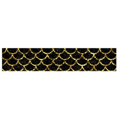 Scales1 Black Marble & Gold Foil Flano Scarf (small) by trendistuff