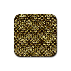 Scales2 Black Marble & Gold Foil (r) Rubber Coaster (square)  by trendistuff