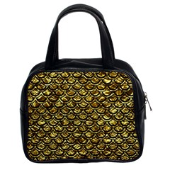 Scales2 Black Marble & Gold Foil (r) Classic Handbags (2 Sides) by trendistuff