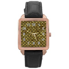 Scales2 Black Marble & Gold Foil (r) Rose Gold Leather Watch  by trendistuff