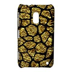 Skin1 Black Marble & Gold Foil Nokia Lumia 620 by trendistuff