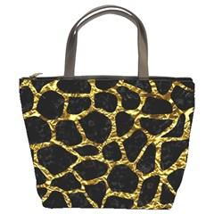 Skin1 Black Marble & Gold Foil (r) Bucket Bags by trendistuff