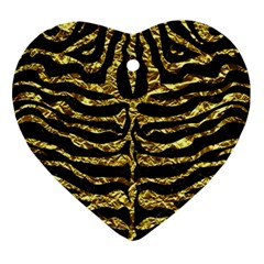 Skin2 Black Marble & Gold Foil Ornament (heart) by trendistuff