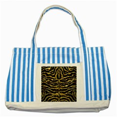 Skin2 Black Marble & Gold Foil Striped Blue Tote Bag by trendistuff