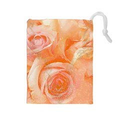 Flower Power, Wonderful Roses, Vintage Design Drawstring Pouches (large)  by FantasyWorld7