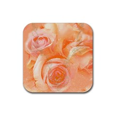 Flower Power, Wonderful Roses, Vintage Design Rubber Square Coaster (4 Pack)  by FantasyWorld7