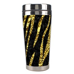 Skin3 Black Marble & Gold Foil Stainless Steel Travel Tumblers by trendistuff