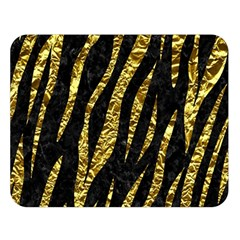 Skin3 Black Marble & Gold Foil Double Sided Flano Blanket (large)  by trendistuff