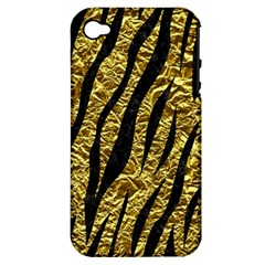 Skin3 Black Marble & Gold Foil (r) Apple Iphone 4/4s Hardshell Case (pc+silicone) by trendistuff