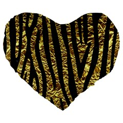 Skin4 Black Marble & Gold Foil Large 19  Premium Flano Heart Shape Cushions by trendistuff