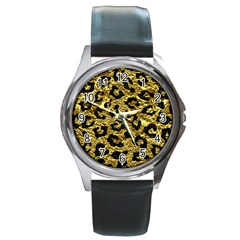 Skin5 Black Marble & Gold Foil Round Metal Watch by trendistuff