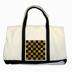 Square1 Black Marble & Gold Foil Two Tone Tote Bag by trendistuff