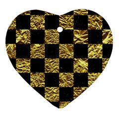 Square1 Black Marble & Gold Foil Heart Ornament (two Sides) by trendistuff