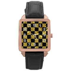 Square1 Black Marble & Gold Foil Rose Gold Leather Watch  by trendistuff