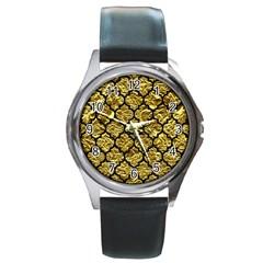 Tile1 Black Marble & Gold Foil (r) Round Metal Watch by trendistuff