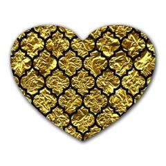 Tile1 Black Marble & Gold Foil (r) Heart Mousepads by trendistuff