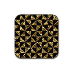 Triangle1 Black Marble & Gold Foil Rubber Square Coaster (4 Pack)  by trendistuff