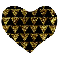 Triangle2 Black Marble & Gold Foil Large 19  Premium Flano Heart Shape Cushions by trendistuff