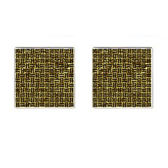 Woven1 Black Marble & Gold Foil (r) Cufflinks (square) by trendistuff