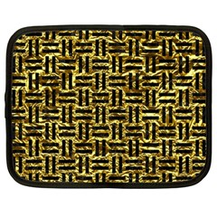 Woven1 Black Marble & Gold Foil (r) Netbook Case (large) by trendistuff