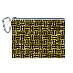 Woven1 Black Marble & Gold Foil (r) Canvas Cosmetic Bag (l) by trendistuff
