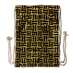 Woven1 Black Marble & Gold Foil (r) Drawstring Bag (large) by trendistuff