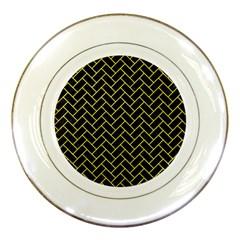 Brick2 Black Marble & Gold Glitter Porcelain Plates by trendistuff