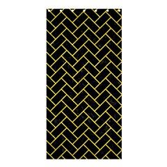 Brick2 Black Marble & Gold Glitter Shower Curtain 36  X 72  (stall)  by trendistuff