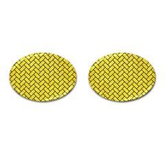 Brick2 Black Marble & Gold Glitter (r) Cufflinks (oval) by trendistuff