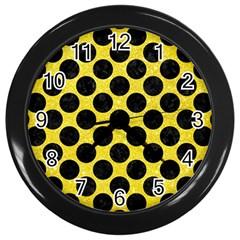 Circles2 Black Marble & Gold Glitter (r) Wall Clocks (black) by trendistuff