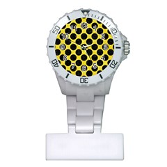 Circles2 Black Marble & Gold Glitter (r) Plastic Nurses Watch by trendistuff