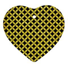 Circles3 Black Marble & Gold Glitter Ornament (heart) by trendistuff