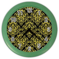 Damask1 Black Marble & Gold Glitter Color Wall Clocks by trendistuff