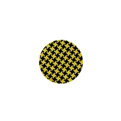 Houndstooth2 Black Marble & Gold Glitter 1  Mini Buttons by trendistuff