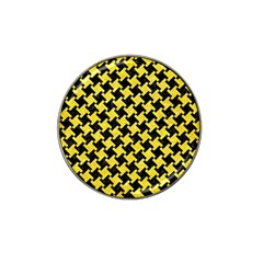 Houndstooth2 Black Marble & Gold Glitter Hat Clip Ball Marker (10 Pack) by trendistuff